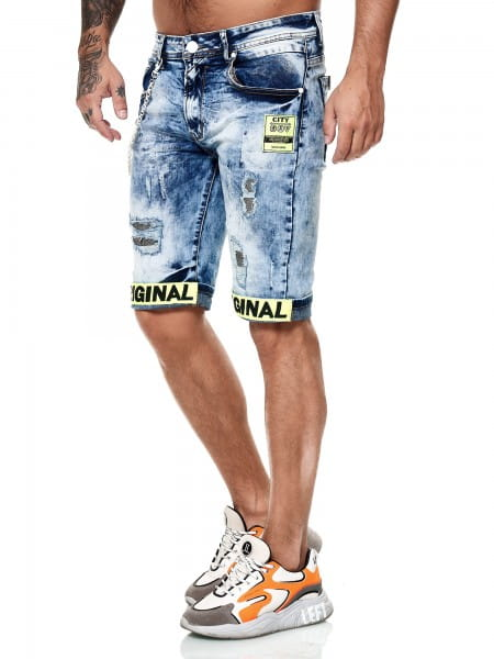 Herren Shorts Bermuda Jeansshorts Destroyed Wash Clubwear Modell E7553