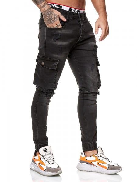 OneRedox Designer Herren Jeans Cargohose Regular Skinny Fit Jeanshose Destroyed Stretch Modell 8012