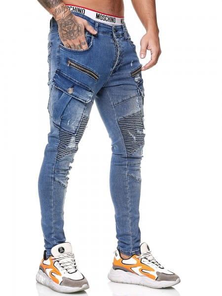 OneRedox Designer Herren Jeans Cargohose Regular Skinny Fit Jeanshose Destroyed Stretch Modell 8016