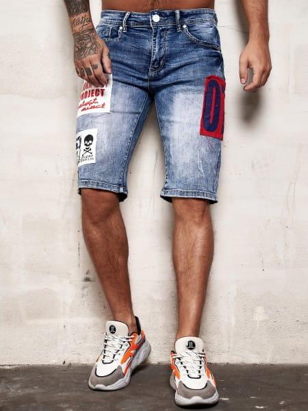 Herren Shorts Bermuda Jeansshorts Destroyed Wash Clubwear Modell E7508