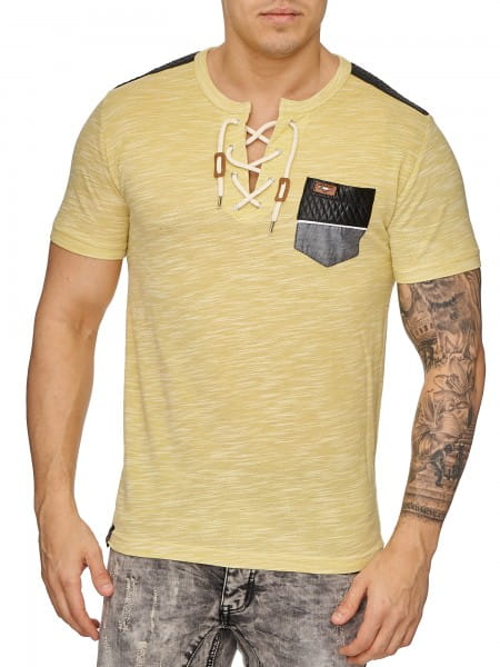 Herren T-Shirt Poloshirt Shirt Kurzarm Printshirt Polo Kurzarm 2933C