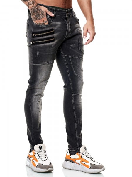 Designer Herren Jeans Cargohose Regular Skinny Fit Jeanshose Destroyed Stretch Modell 8030