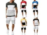 OneRedox Costume de jogging court pour hommes Costume court Costume de sport Costume court pour hommes T-shirt court Modèle 1335