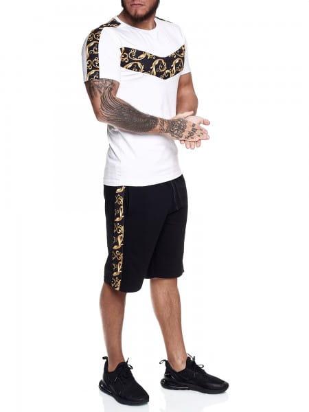 Kort joggingpak voor heren kort pak sportpak barokpatroon kort streep T-shirt model 14