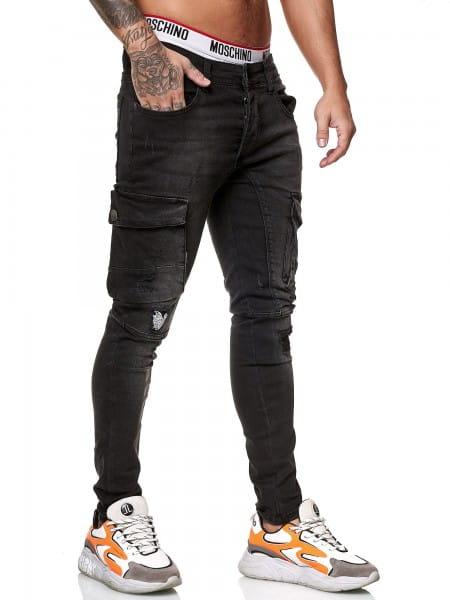 OneRedox Designer Herren Jeans Cargohose Regular Skinny Fit Jeanshose Destroyed Stretch Modell 8022