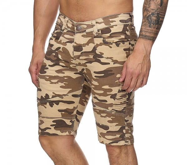 OneRedox Hommes Bermuda Shorts Bermuda Shorts Hommes Sport Shorts Casual Shorts Short Pantalon court Cargo Pantalon Cargo 3229 Camouflage Beige
