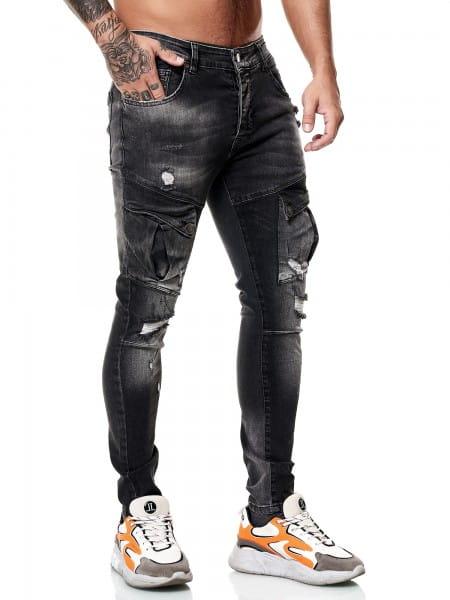 Designer Herren Jeans Cargohose Regular Skinny Fit Jeanshose Destroyed Stretch Modell 8027