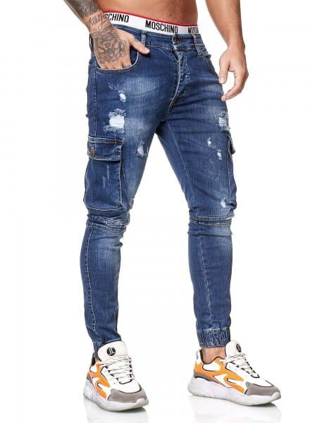 OneRedox Designer Herren Jeans Cargohose Regular Skinny Fit Jeanshose Destroyed Stretch Modell 8013