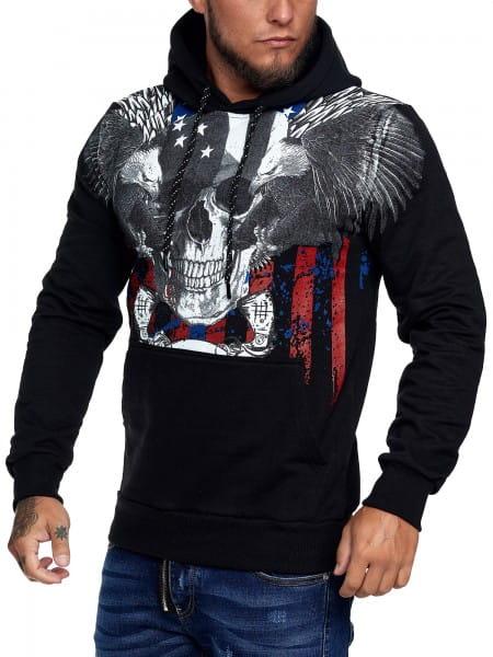 OneRedox Herren Hoodie Kapuzenpullover Pullover Pulli Bauchtasche Modell H-3690