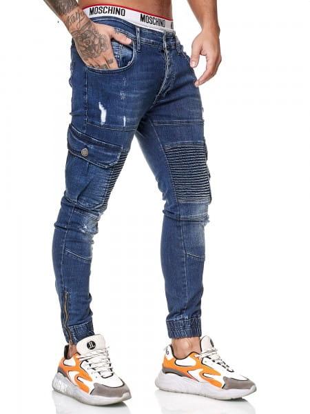 OneRedox Designer Herren Jeans Cargohose Regular Skinny Fit Jeanshose Destroyed Stretch Modell 8014