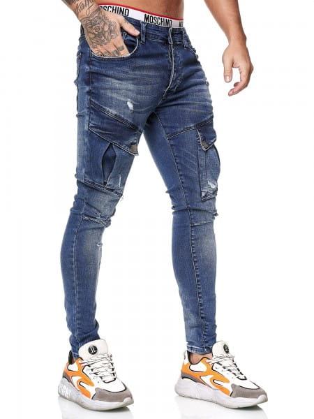 OneRedox Designer Herren Jeans Cargohose Regular Skinny Fit Jeanshose Destroyed Stretch Modell 8029